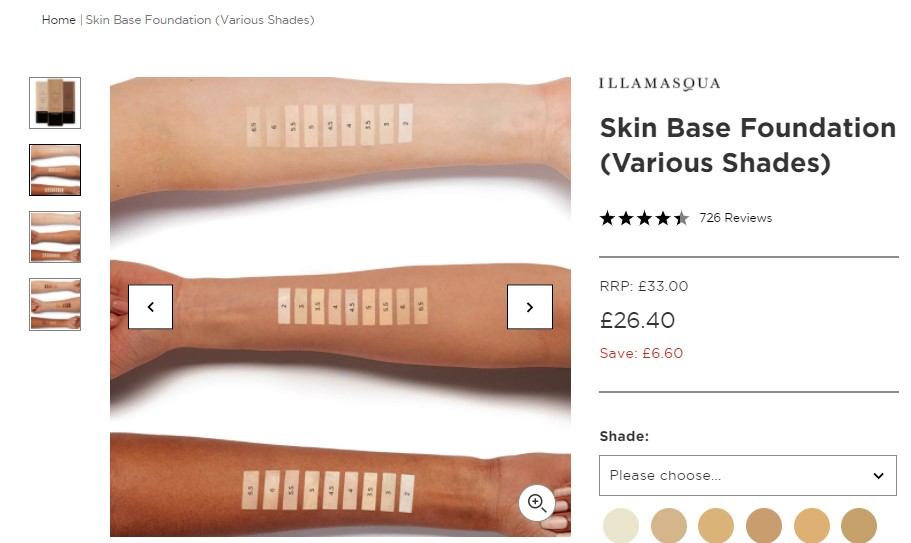 Illamasqua swatches of Skinbase foundations on models with 3 different skintones